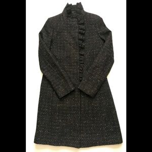 DKNY Wool Tweed Coat Brown and Black Size 10